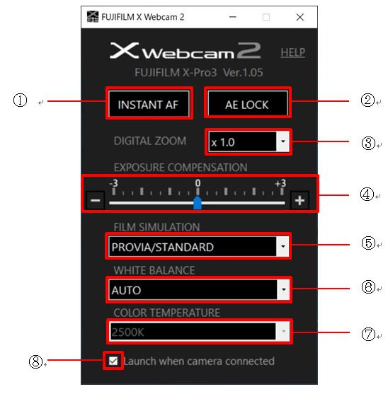 Fujifilm X Webcam versione 2.0
