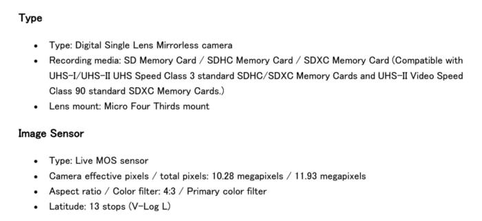 Panasonic LUMIX BGH1 leak