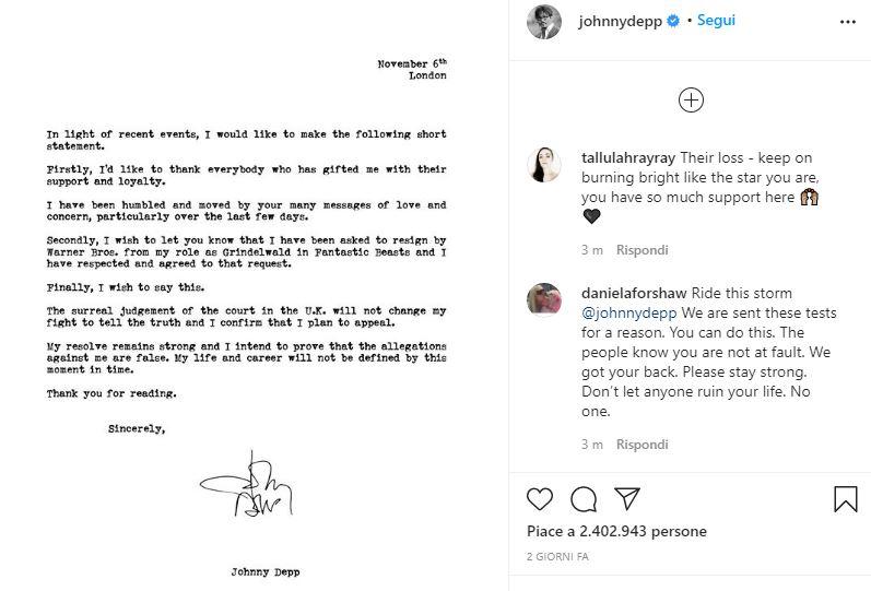 Animali Fantastici licenziamento Johnny Depp
