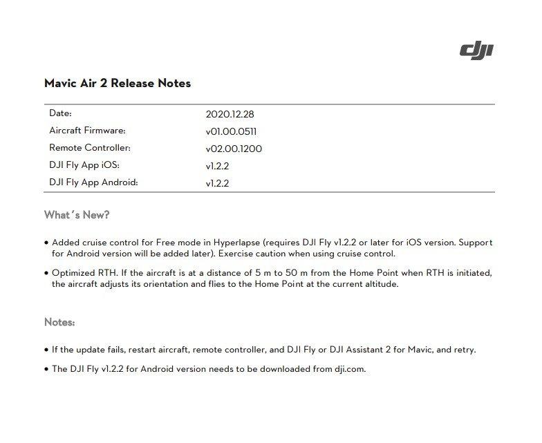 DJI Mavic Air 2 firmware cruise control