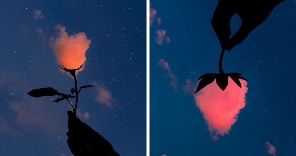 Fotografo crea forme nel cielo